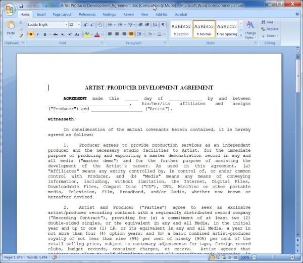 Artist Producer Development Agreement Producer S Point Of View