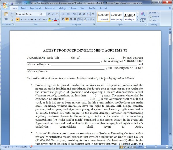 Artist Producer Development AgreementArtistS Point Of View  Board